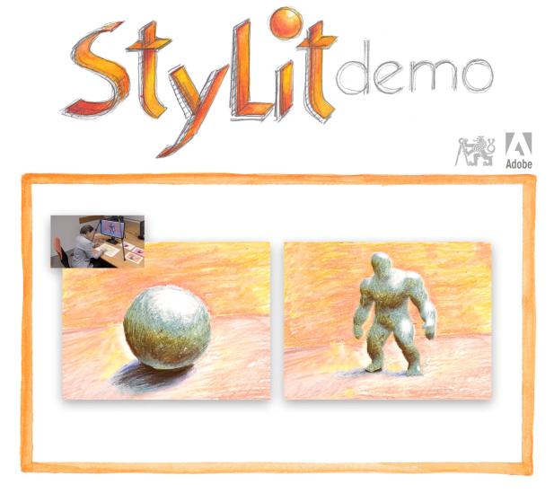 左が紙に描かれたもので、右がこの質感を反映した3Dオブジェクト