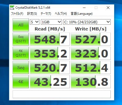SSDでの計測結果