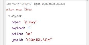 デバッグノードで「msgオブジェクト」全体を表示